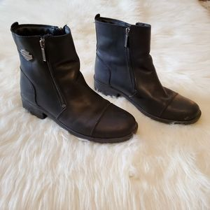 Harley Davidson Black Leather DoubleZip Ankle Boot